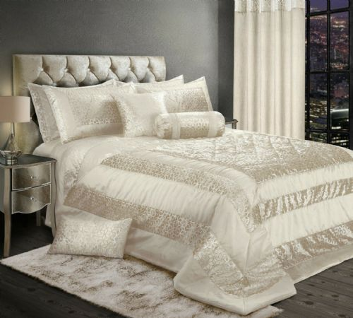 LUXURY EMBOSSED CRUSHED VELVET SHINY FOIL PRINT BEDSPREAD SET WITH PILLOWSHAMS CREAM & SILVER